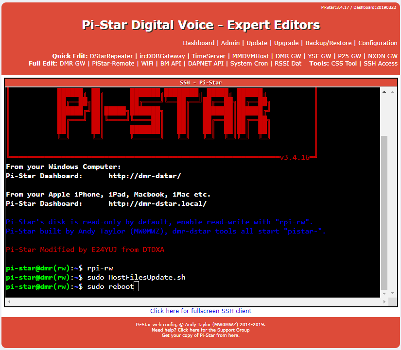 Pi-Star: How to update Host IP